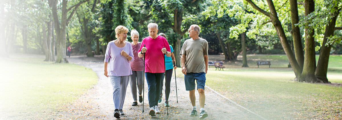Physical exercise with dialysis - elderly people walking